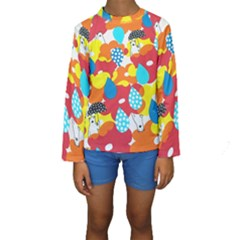 Bear Umbrella Kids  Long Sleeve Swimwear