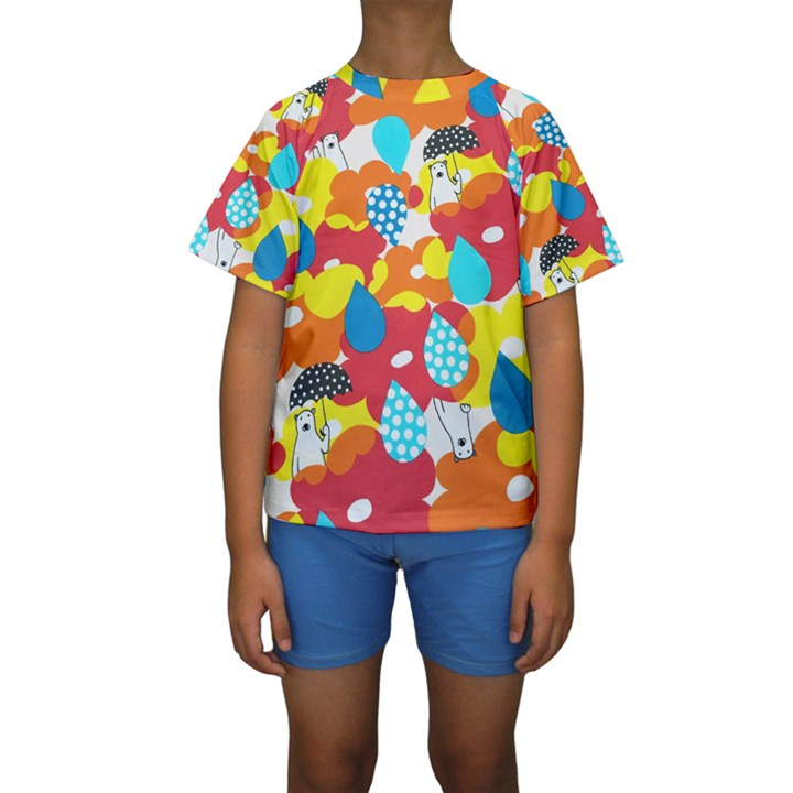 Bear Umbrella Kids  Short Sleeve Swimwear