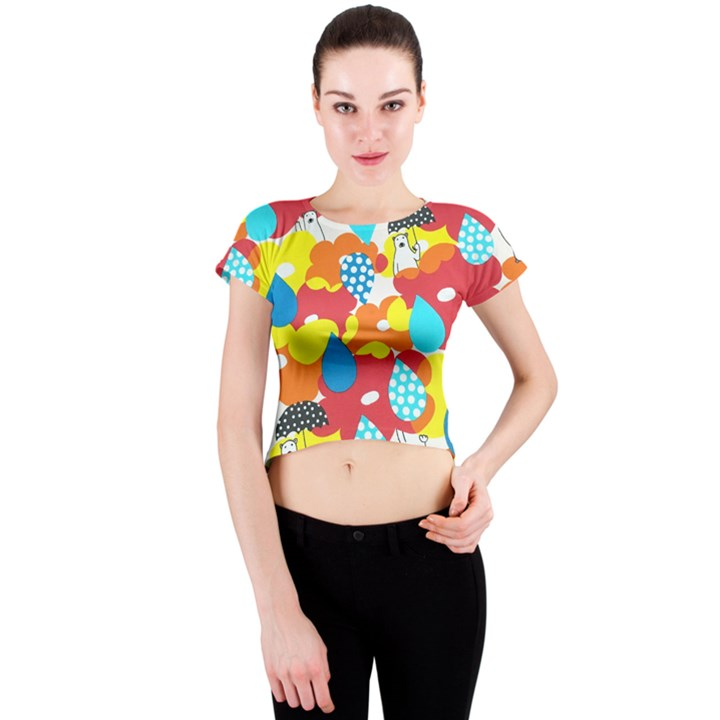 Bear Umbrella Crew Neck Crop Top