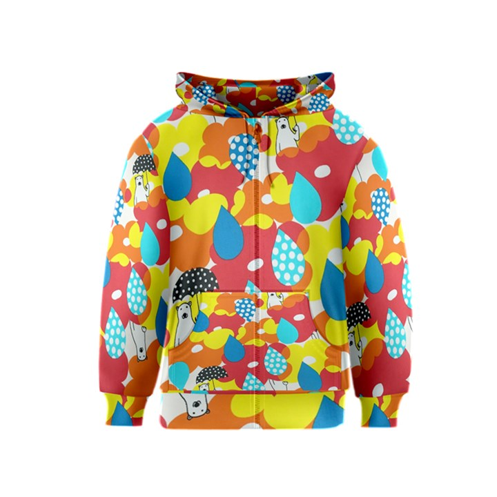 Bear Umbrella Kids  Zipper Hoodie