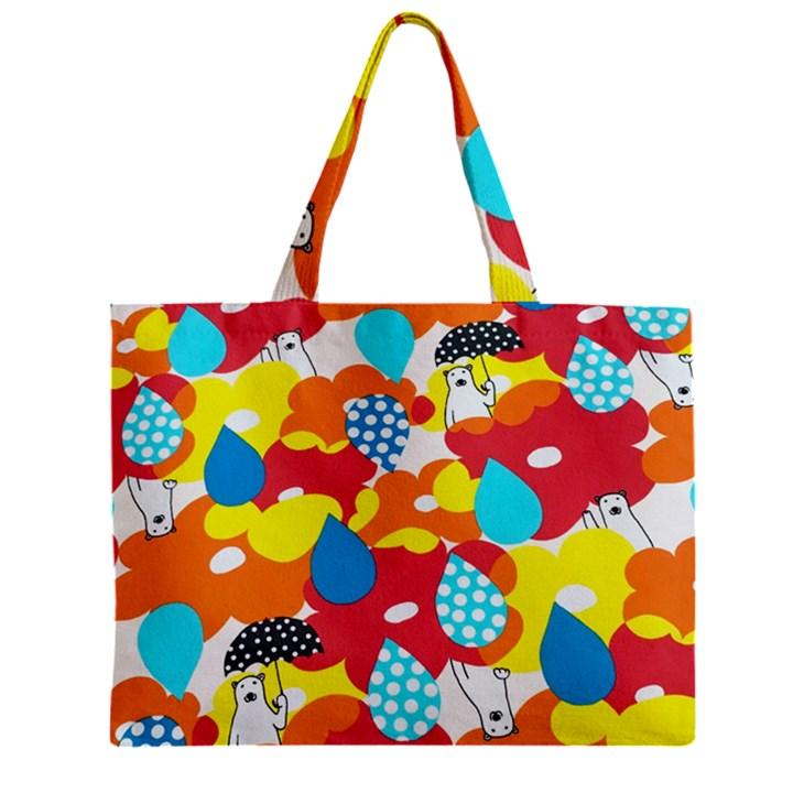 Bear Umbrella Zipper Mini Tote Bag