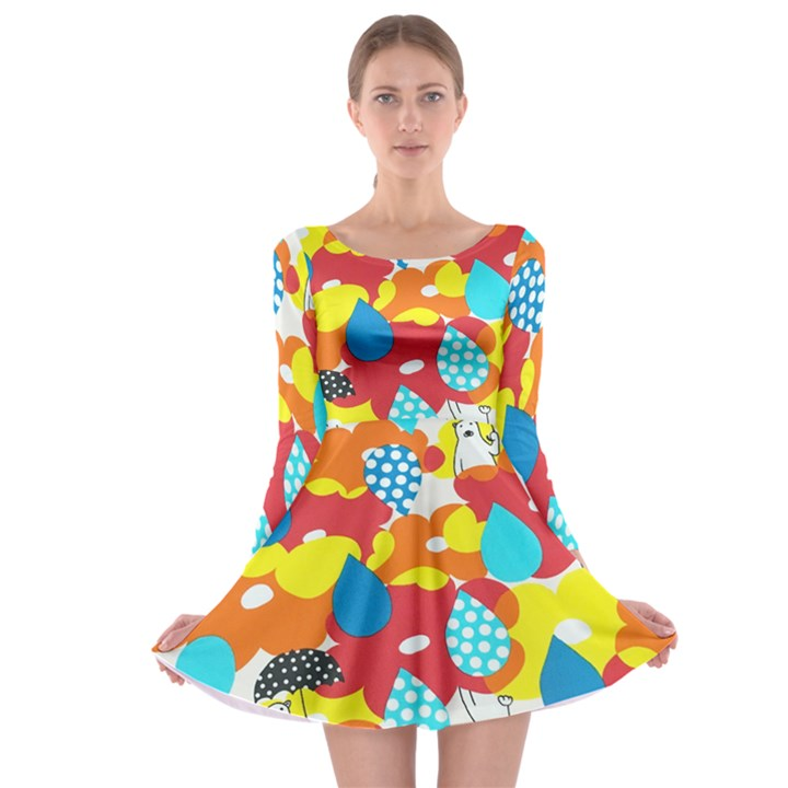 Bear Umbrella Long Sleeve Skater Dress