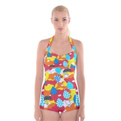 Bear Umbrella Boyleg Halter Swimsuit