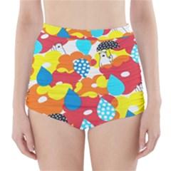 Bear Umbrella High Waisted Bikini Bottoms