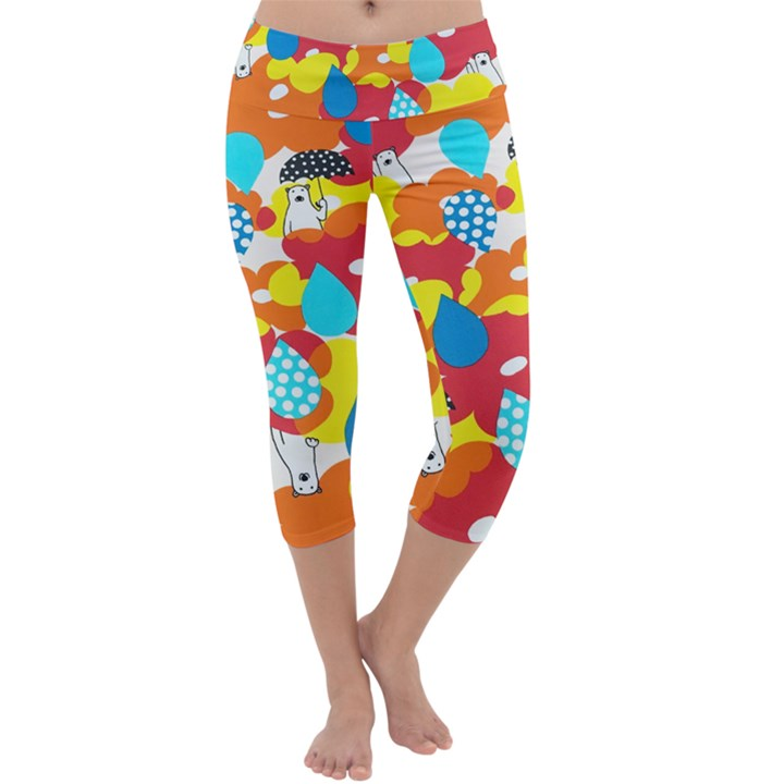 Bear Umbrella Capri Yoga Leggings