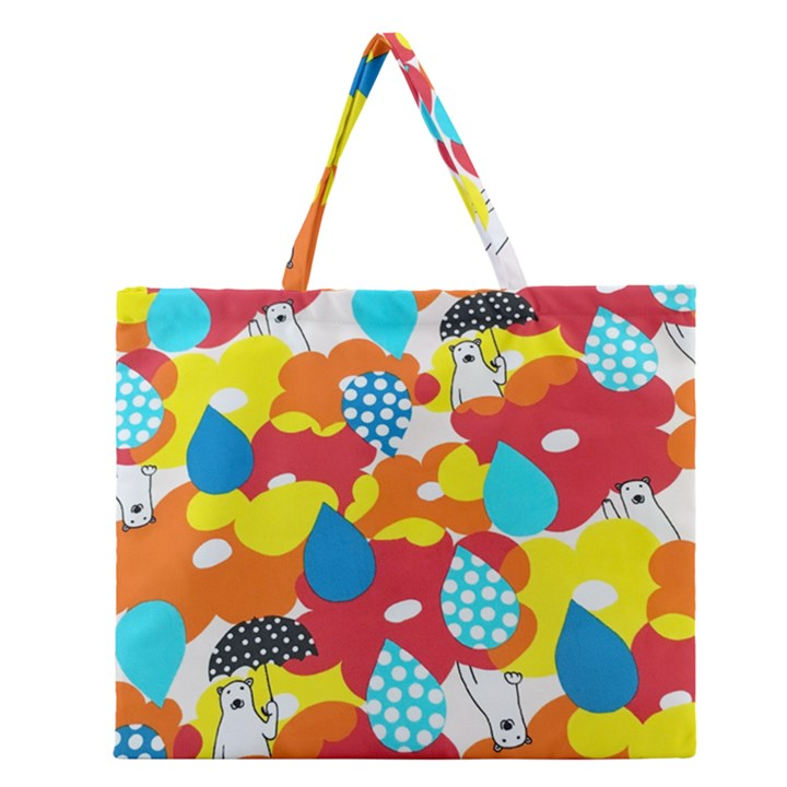 Bear Umbrella Zipper Large Tote Bag