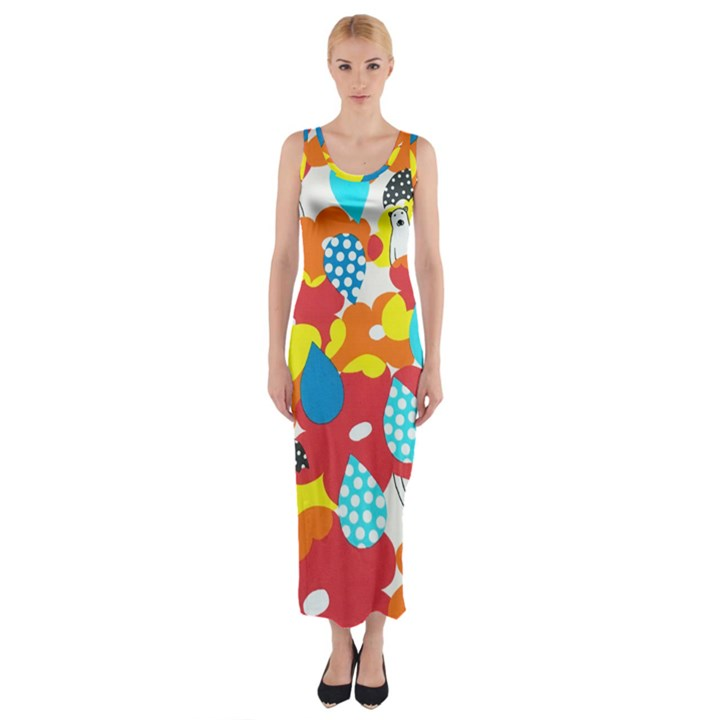 Bear Umbrella Fitted Maxi Dress