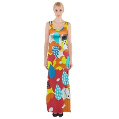 Bear Umbrella Maxi Thigh Split Dress