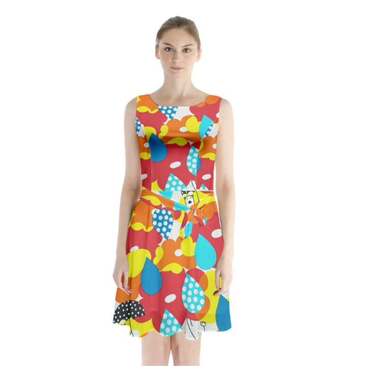 Bear Umbrella Sleeveless Chiffon Waist Tie Dress