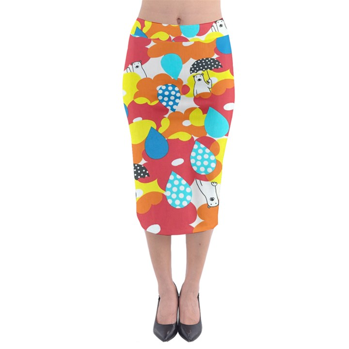 Bear Umbrella Midi Pencil Skirt