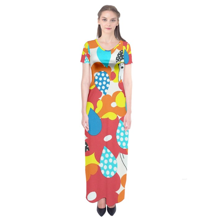 Bear Umbrella Short Sleeve Maxi Dress