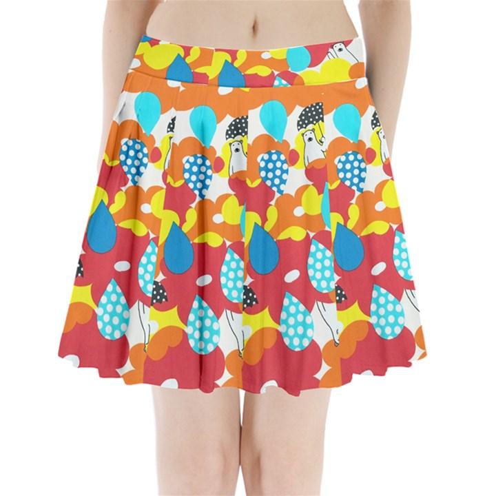 Bear Umbrella Pleated Mini Skirt
