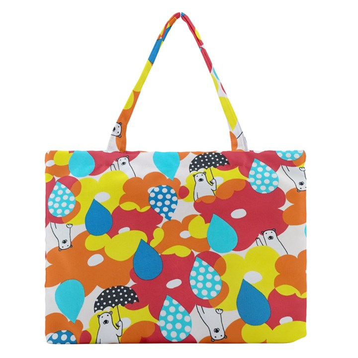Bear Umbrella Medium Zipper Tote Bag