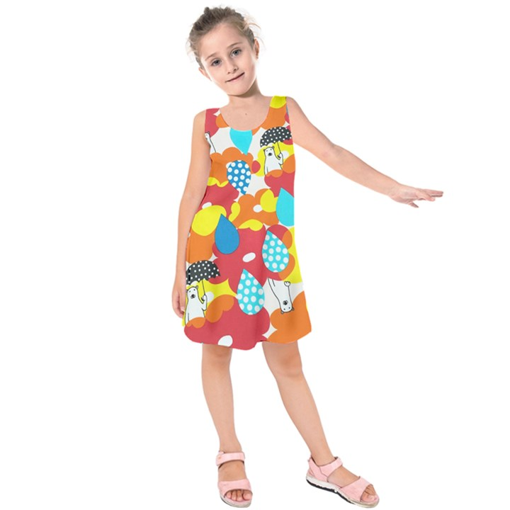 Bear Umbrella Kids  Sleeveless Dress