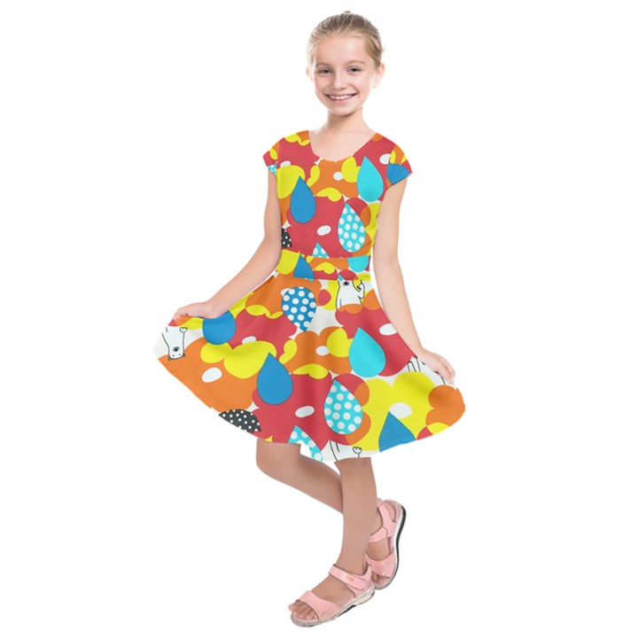 Bear Umbrella Kids  Short Sleeve Dress