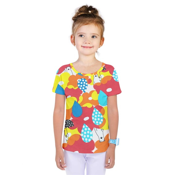 Bear Umbrella Kids  One Piece Tee