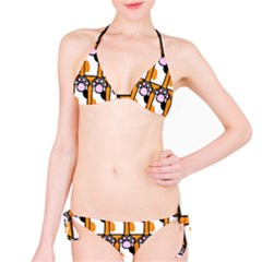 Cute Cat Hand Orange Bikini Set