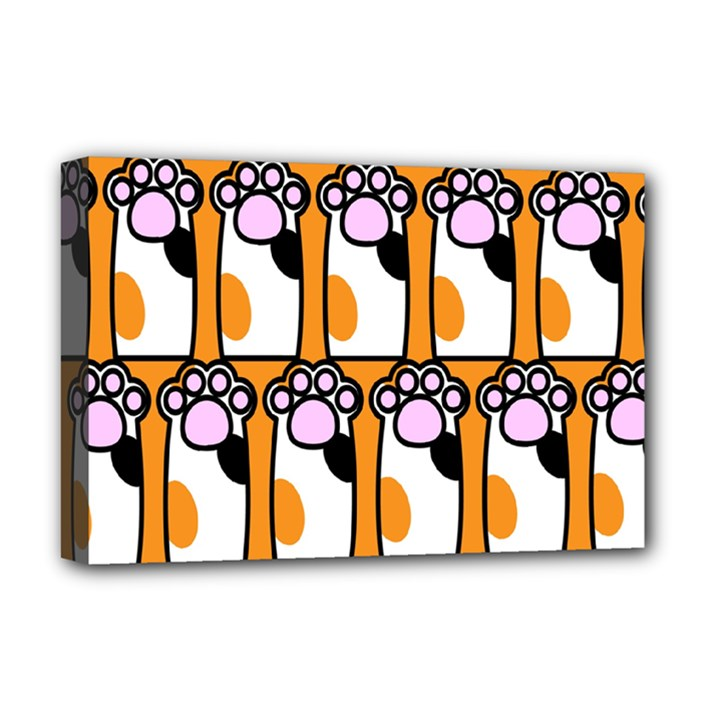 Cute Cat Hand Orange Deluxe Canvas 18  x 12