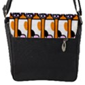 Cute Cat Hand Orange Flap Messenger Bag (S) View1