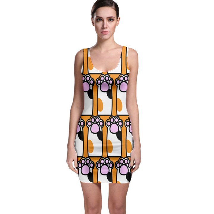 Cute Cat Hand Orange Sleeveless Bodycon Dress
