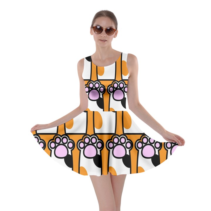 Cute Cat Hand Orange Skater Dress