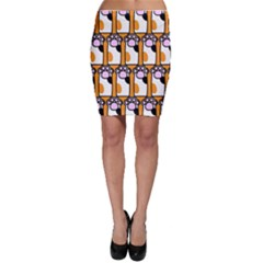 Cute Cat Hand Orange Bodycon Skirt
