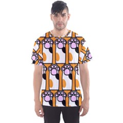Cute Cat Hand Orange Men s Sport Mesh Tee