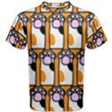 Cute Cat Hand Orange Men s Cotton Tee View1
