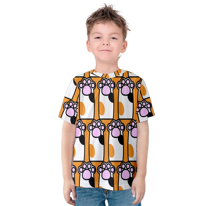 Cute Cat Hand Orange Kids  Cotton Tee