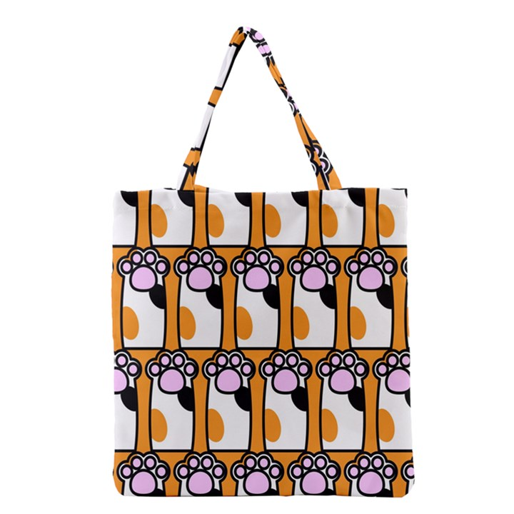 Cute Cat Hand Orange Grocery Tote Bag