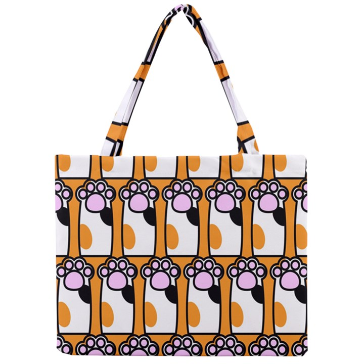 Cute Cat Hand Orange Mini Tote Bag