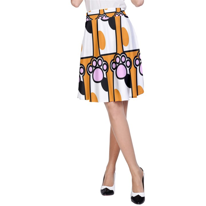 Cute Cat Hand Orange A-Line Skirt