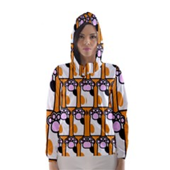 Cute Cat Hand Orange Hooded Wind Breaker (Women)