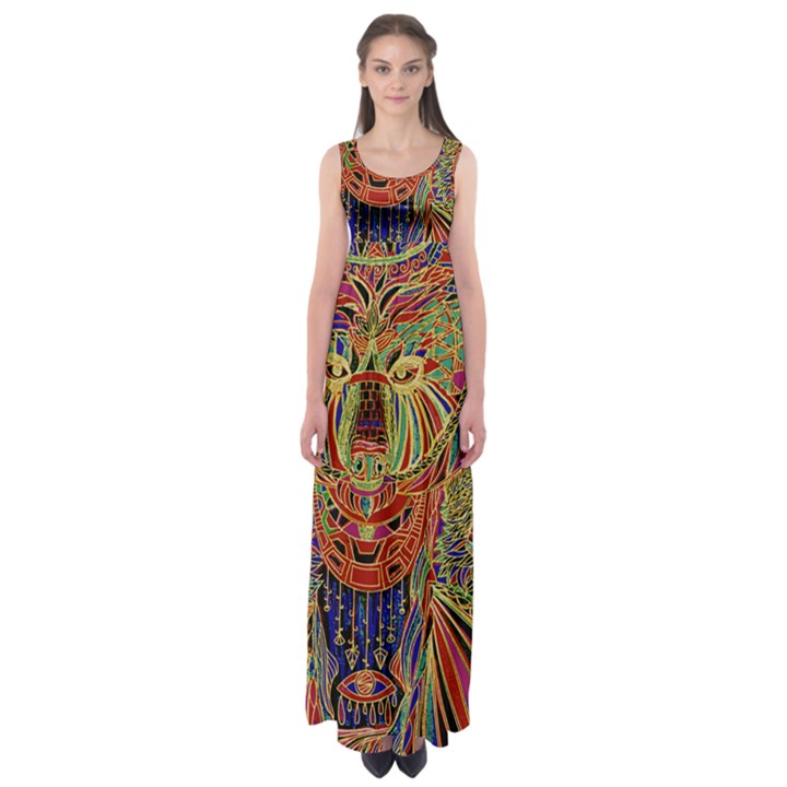 Tribal Bear  by WBK:  Empire Waist Maxi Dress
