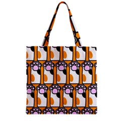 Cute Cat Hand Orange Zipper Grocery Tote Bag
