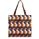Cute Cat Hand Orange Zipper Grocery Tote Bag View2