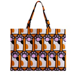 Cute Cat Hand Orange Zipper Mini Tote Bag