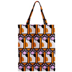 Cute Cat Hand Orange Zipper Classic Tote Bag