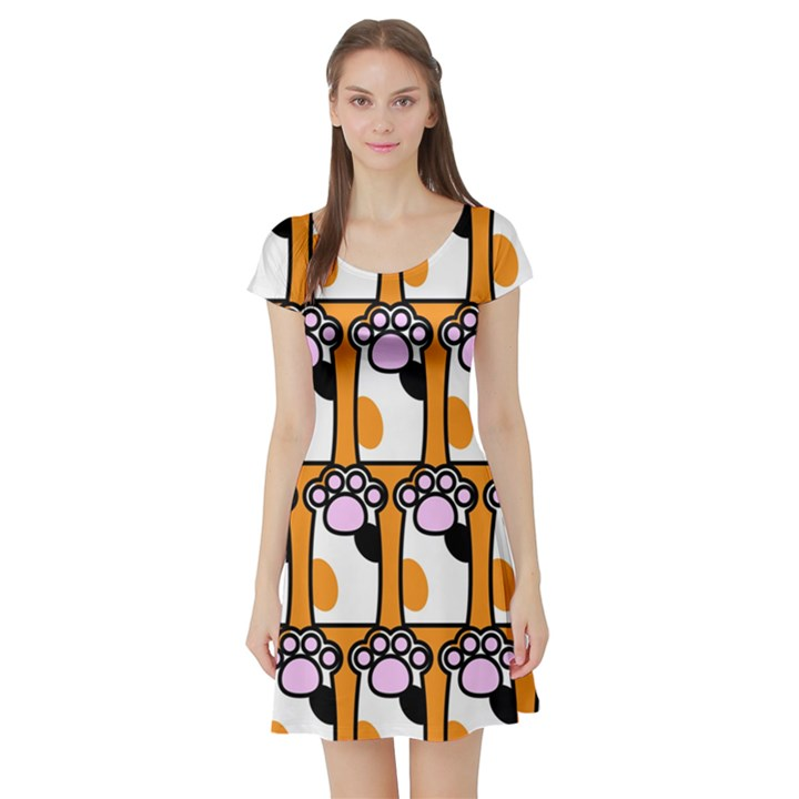 Cute Cat Hand Orange Short Sleeve Skater Dress