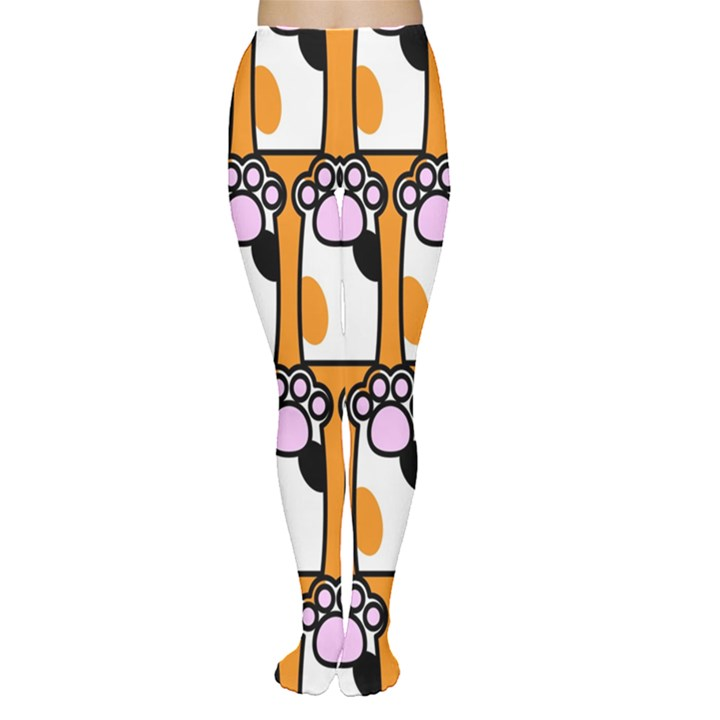 Cute Cat Hand Orange Women s Tights