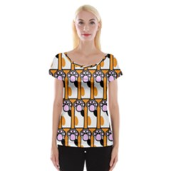 Cute Cat Hand Orange Women s Cap Sleeve Top