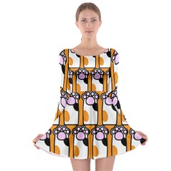 Cute Cat Hand Orange Long Sleeve Skater Dress
