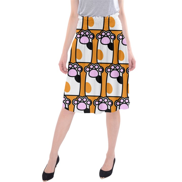 Cute Cat Hand Orange Midi Beach Skirt