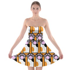 Cute Cat Hand Orange Strapless Bra Top Dress