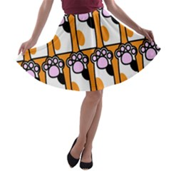 Cute Cat Hand Orange A Line Skater Skirt