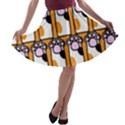 Cute Cat Hand Orange A-line Skater Skirt View1