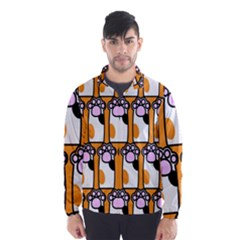 Cute Cat Hand Orange Wind Breaker (Men)