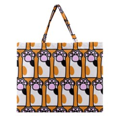 Cute Cat Hand Orange Zipper Large Tote Bag