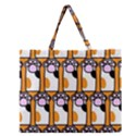 Cute Cat Hand Orange Zipper Large Tote Bag View1
