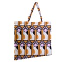 Cute Cat Hand Orange Zipper Large Tote Bag View2